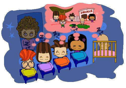 Dina y din echan la siesta en la guarderia