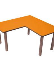 mesa de madera en L